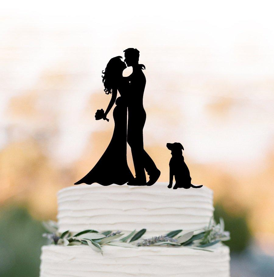 Mariage - silhouette Wedding Cake topper with dog, custom dog cake topper for wedding, Bride and groom cake topper