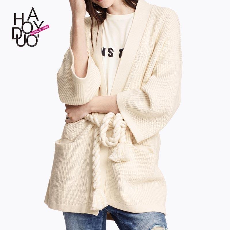 Wedding - Oversized Vogue Simple Jersey One Color Fall Tie Coat - Bonny YZOZO Boutique Store
