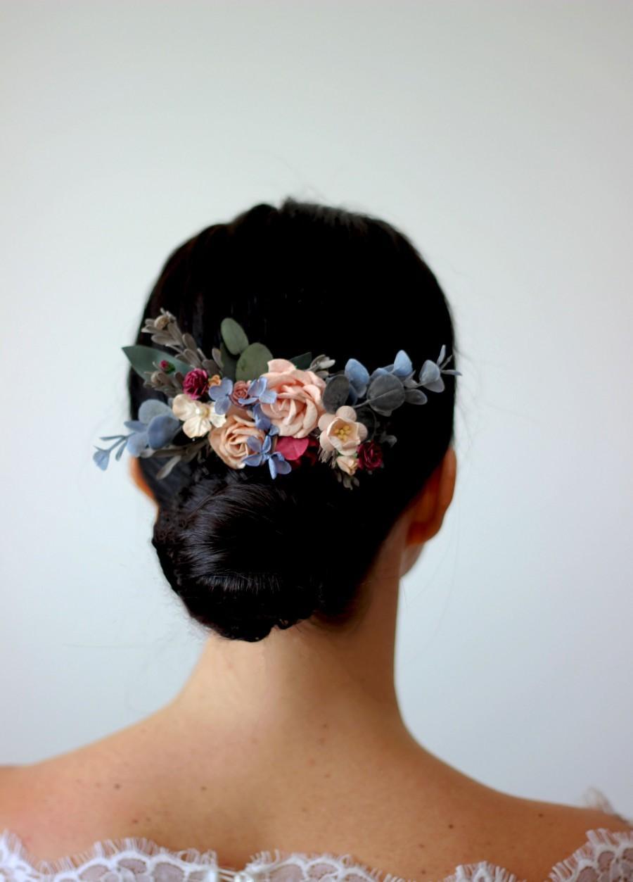Hochzeit - Blue peach flower comb Floral headpiece Bridal comb Flower accessories Bridesmaid comb Hair clip  Wedding hair piece Outdoor wedding