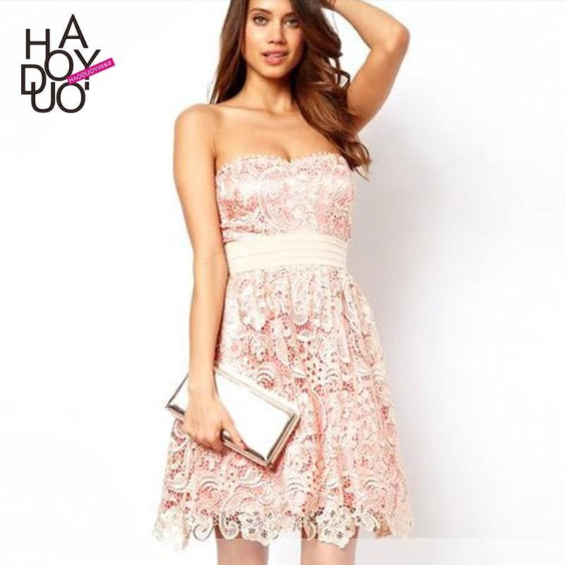Wedding - Strapless Embroidery Hollow Out Slimming Double Layered Zipper Up Summer Lace Dress - Bonny YZOZO Boutique Store