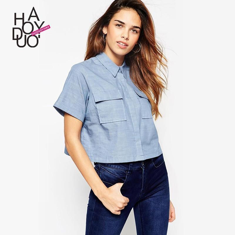 Свадьба - Vogue Simple Pocket One Color Summer Short Sleeves Blouse - Bonny YZOZO Boutique Store