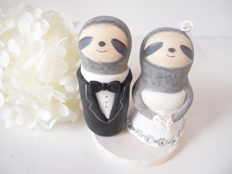 Mariage - Love Wedding Cake Toppers -Love Sloth with base
