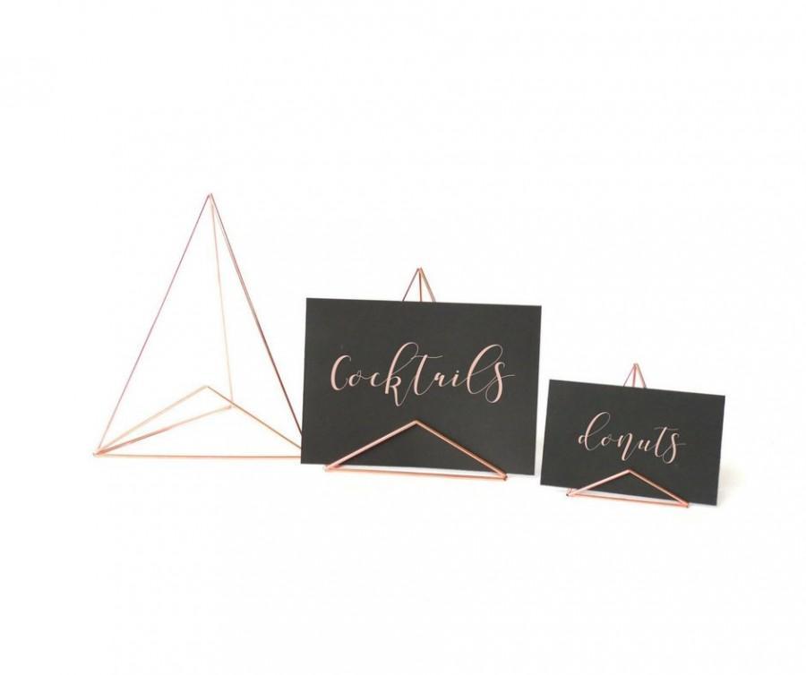 Mariage - Mod Sign Holders - 3 size options: Brass, Copper, Silver, Black metals - Wedding Table Number Sign Holder, Photo Holder - Card Holder -Event