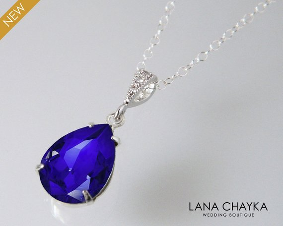 Wedding - Blue Crystal Teardrop Necklace, Swarovski Majestic Blue Silver CZ Pendant, Bridesmaids Cobalt Jewelry, Bridal Royal Blue Necklace, Weddings