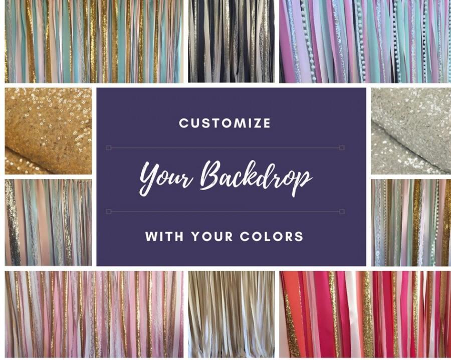 Mariage - Custom Backdrop, custom background, wedding, bridal shower, baby shower, birthday, photo booth prop, fabric, garland, streamers ribbon