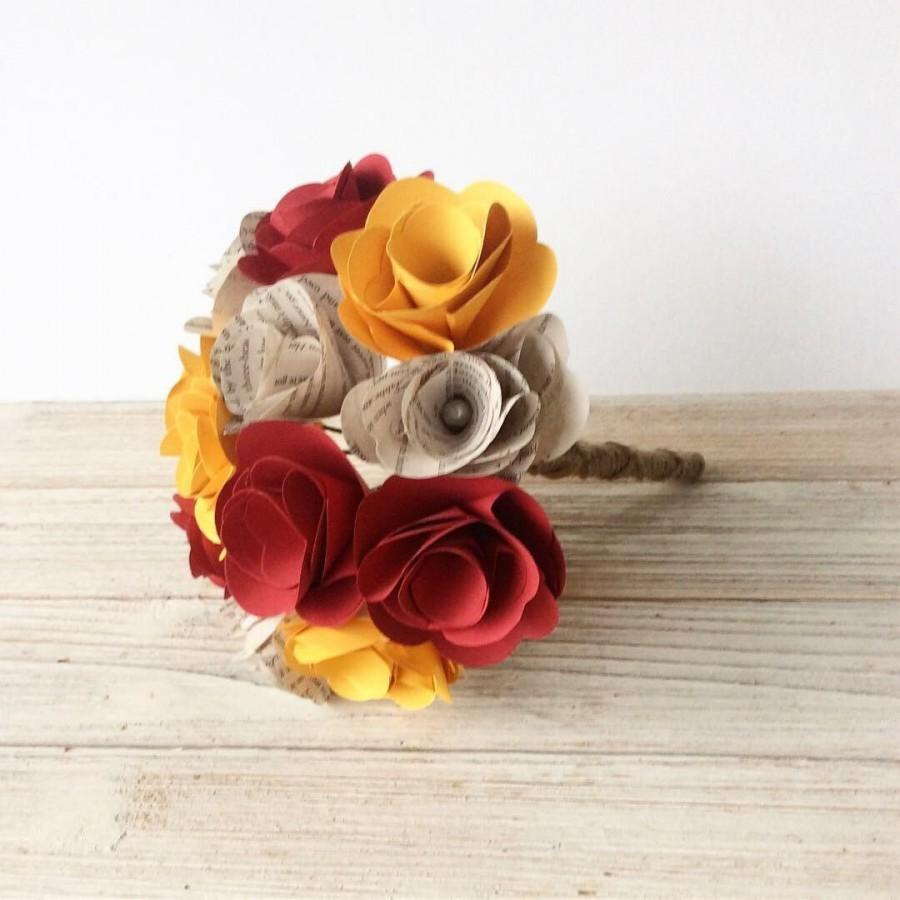 Свадьба - Harry Potter Bouquet, Gryffindor Bouquet, Book Bouquet Wedding,Book Flowers, Paper Flower Bouquet, Paper Bouquet