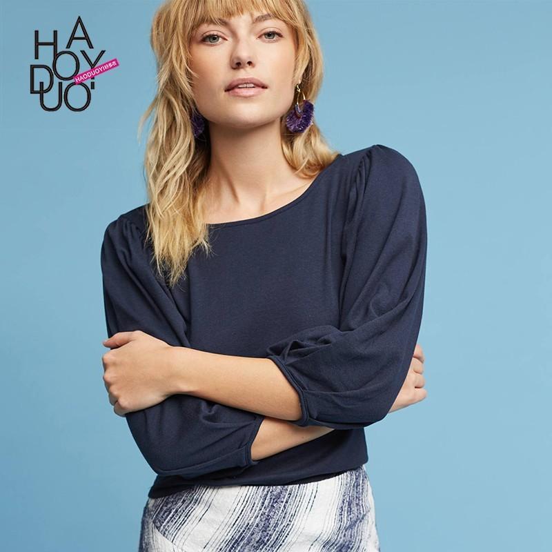 Wedding - Vogue Ruffle Scoop Neck Bubble Sleeves One Color Fall T-shirt - Bonny YZOZO Boutique Store