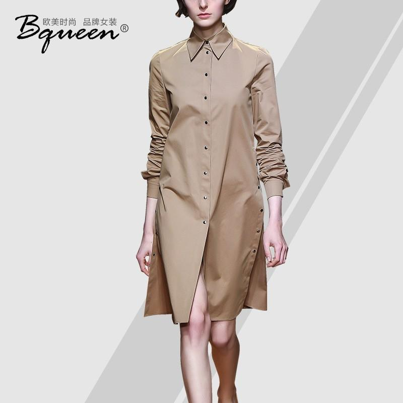 Hochzeit - 2017-autumn new style fashion leisure shirt lapel single breasted long dress women - Bonny YZOZO Boutique Store