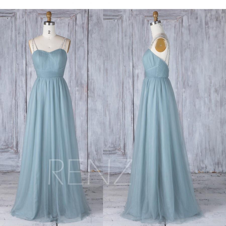 Mariage - Bridesmaid Dress Dusty Blue Tulle Maxi Dress,Sweetheart Ruched Prom Dress,Beaded Criss Cross Spaghetti Straps Ball Gown Wedding Dress(LS353)