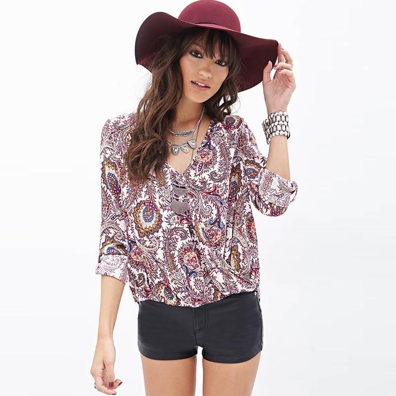 Свадьба - Sexy loose Paisley patterns digital print v neck long sleeve chiffon shirt D673 - Bonny YZOZO Boutique Store