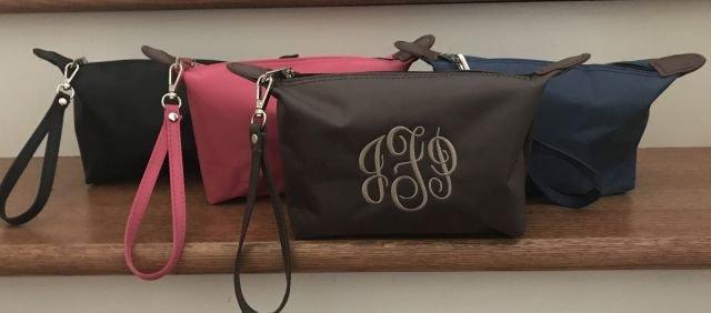 Wedding - Monogram Mini Clutch - Small Travel Clutch - Zipper Mini Bag - Stocking Stuffer  - Nylon Wristlet - Personalized Oil Bag