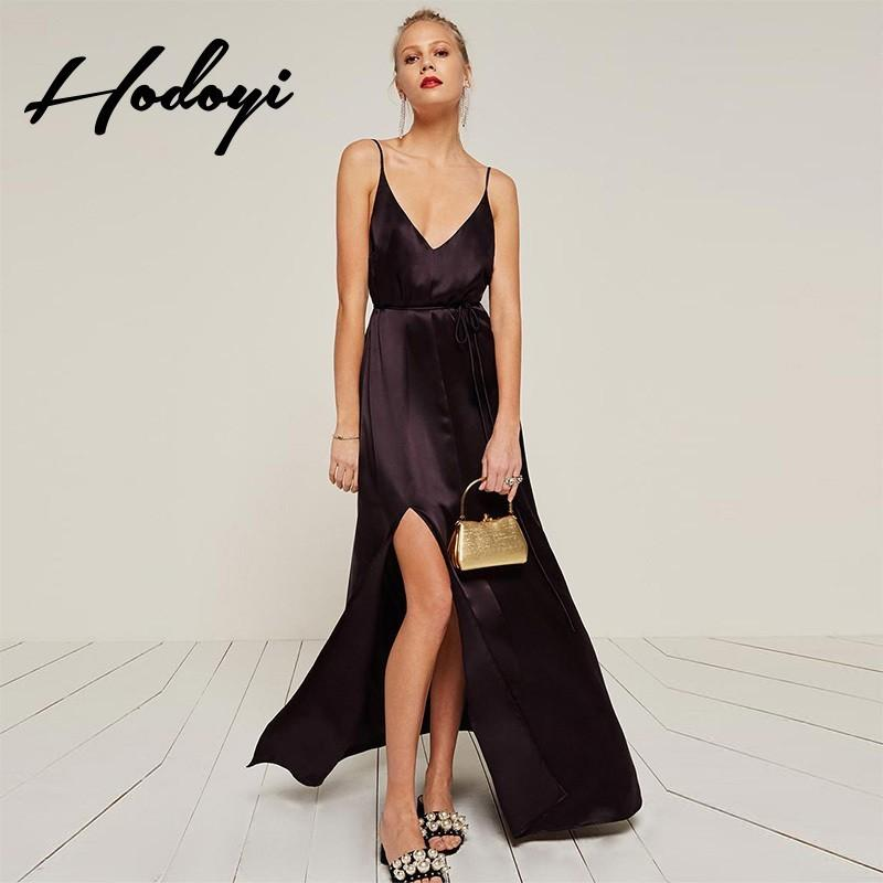 Свадьба - Vogue Sexy Split Open Back Satin Summer Dress Strappy Top - Bonny YZOZO Boutique Store