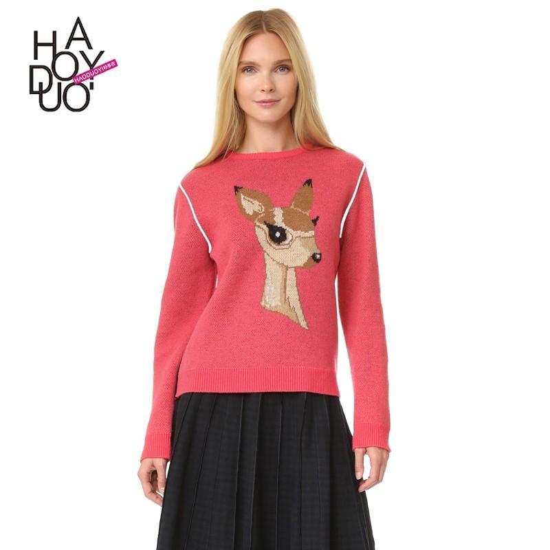 زفاف - Must-have Vogue Printed Deer Fall Casual 9/10 Sleeves Sweater - Bonny YZOZO Boutique Store