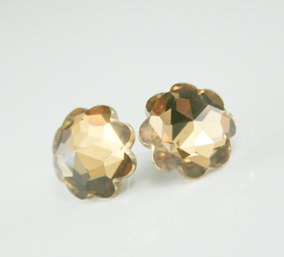 Wedding - champagne crystal earrings,champagne bridal earrings,champagne bridesmaid earrings,champagne wedding jewelry,honey brown earrings,gold stud