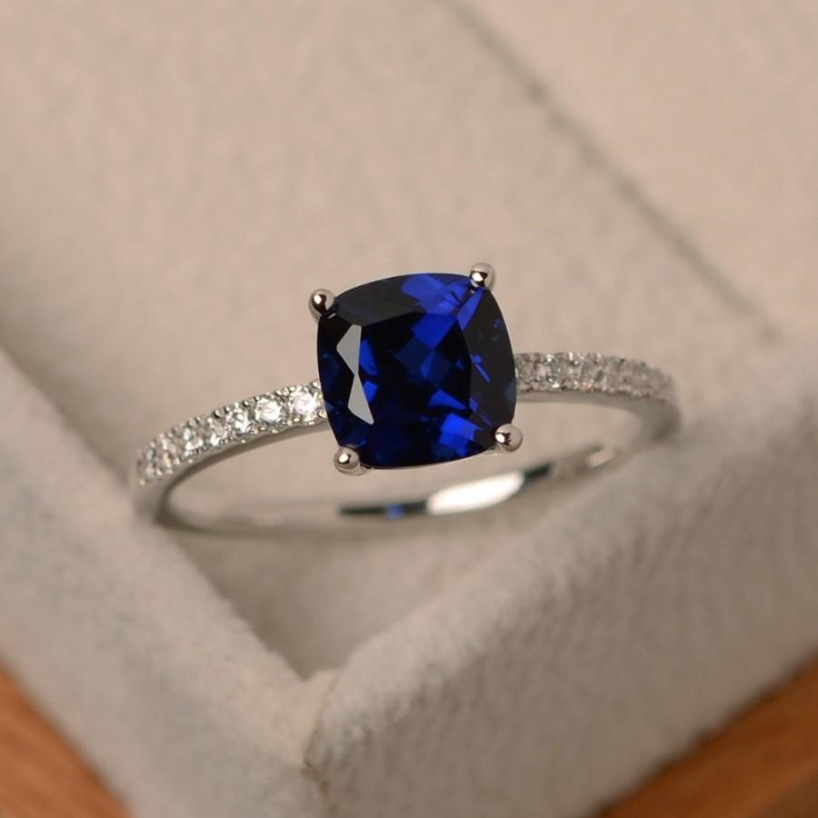 زفاف - Sapphire ring, engagement ring, sterling silver, cushion cut, blue gemstone ring, sapphire jewelry