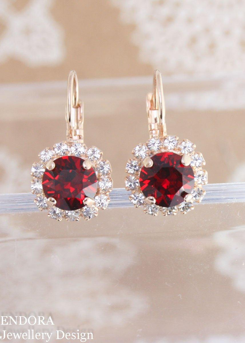 Wedding - Red crystal earrings,swarovski earrings,red earrings,red bridal earrings,crystal earrings,stud earrings,red drop earrings,swarovski siam red