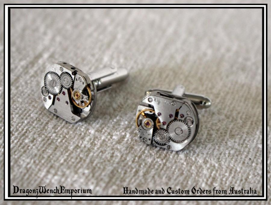 Wedding - Cufflinks with complete watch inner workings. Steampunk cufflinks. Gentlemens cufflinks. Recycled watch inner cufflinks. Made in Australia