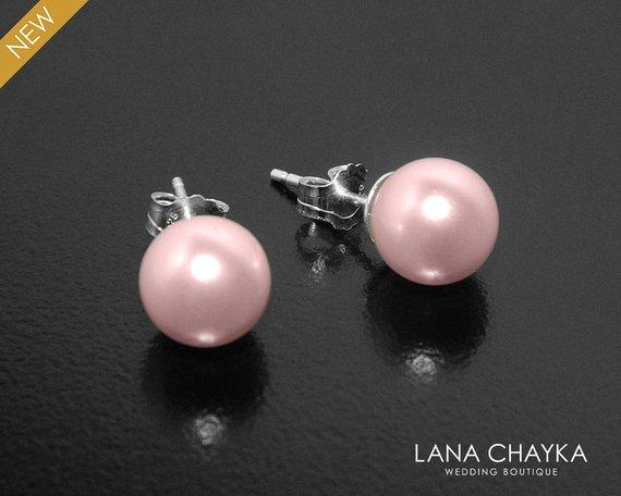 Свадьба - Blush Pink Pearl Stud Earrings, Swarovski 8mm Rosaline Pearl Wedding Earrings, 925 Sterling Silver Pink Pearl Studs, Pink Bridesmaid Earring