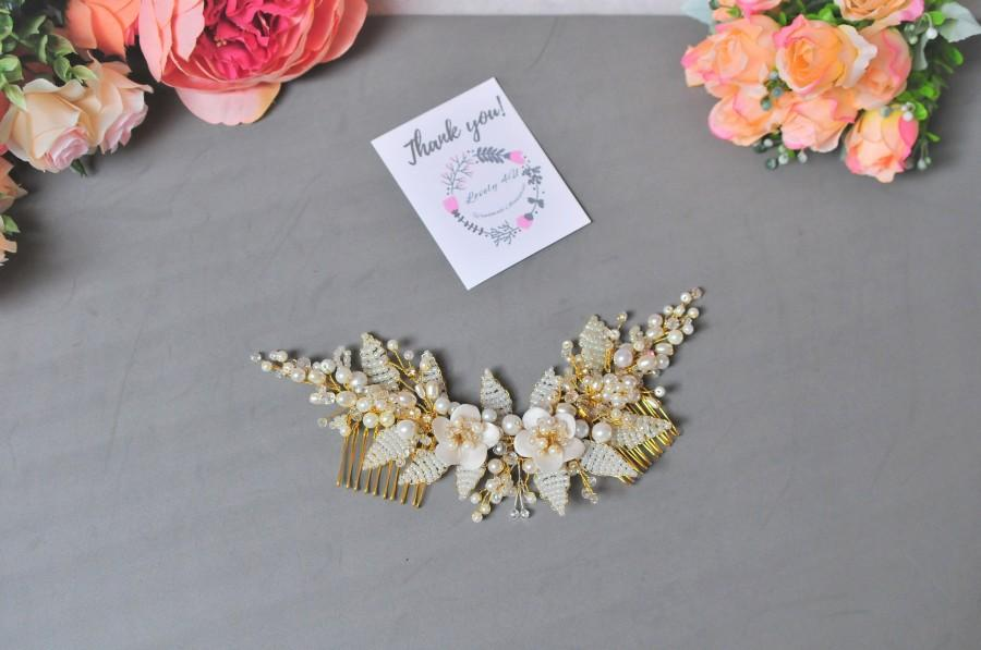 Mariage - Swarovski Crystal and Pearl Comb, Wedding Bridal Comb, Bridal Boho Diadem, Crystal Comb, Pearl Comb, Bridal Hair Piece, Bridal Floral Comb