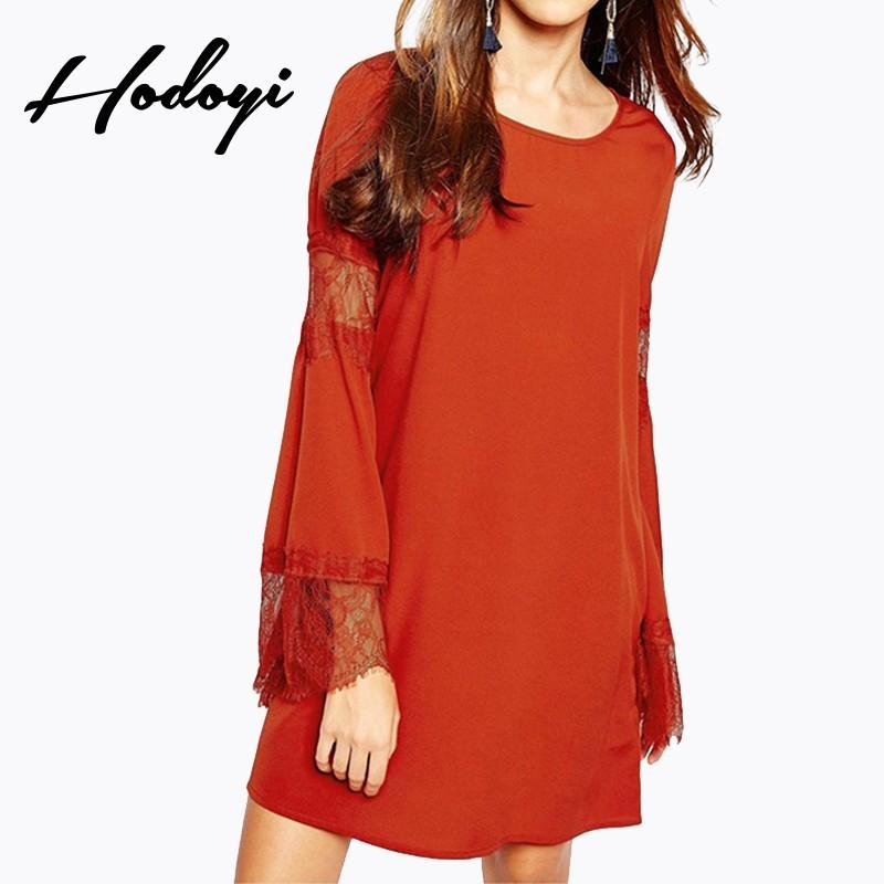Mariage - Oversized Vogue Split Front Ruffle One Color Spring 9/10 Sleeves Lace Dress - Bonny YZOZO Boutique Store