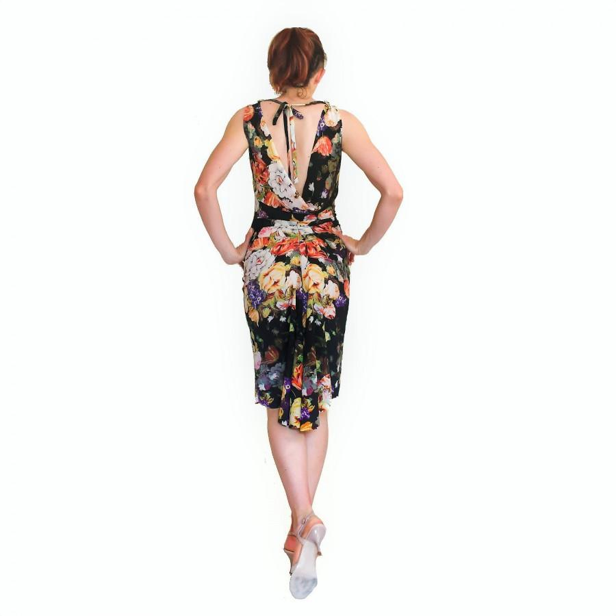 Wedding - ISABELLE Argentine tango dress with open back. Floral print midi wiggle dress. Backless wedding guest dress. Ballroom dance dress with slit.