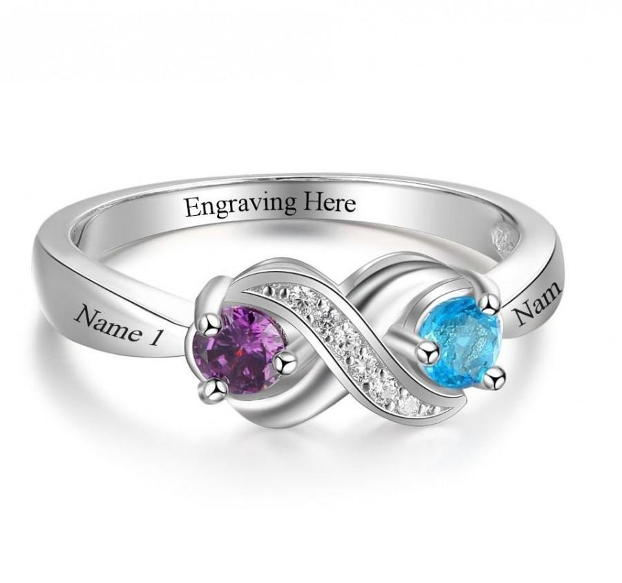 Wedding - Personalized 2 Birthstone Ring with Custom Engraved 2 Names and 1 Phrase