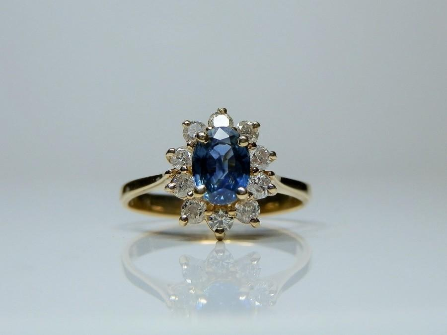 Wedding - RESERVED... Please do not Purchase... Vintage 14k Gold, Sapphire & Diamond Halo Ring. Size 6 1/2.