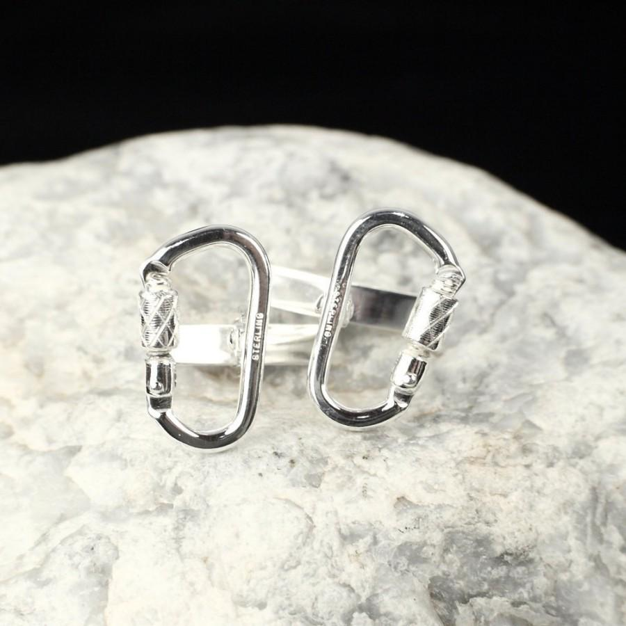 Wedding - Functional Carabiner Cufflink Sterling Silver Rock Climbing Jewelry (Pair) CFL-222-S-B