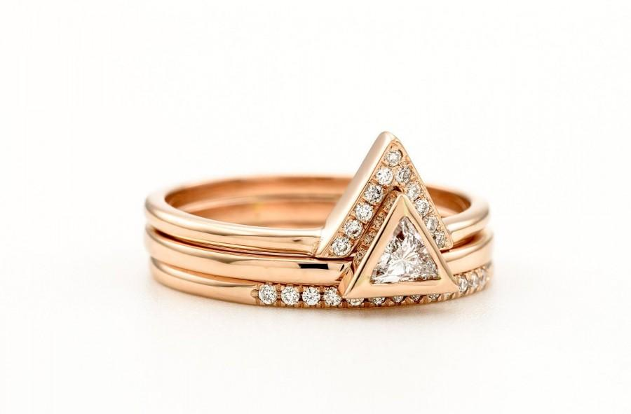 Mariage - Triangle Diamond Engagement 3 Ring set Unique Trillion Diamond Ring Wedding 3 Ring Set Bridal ring Set Rose White Yellow Gold
