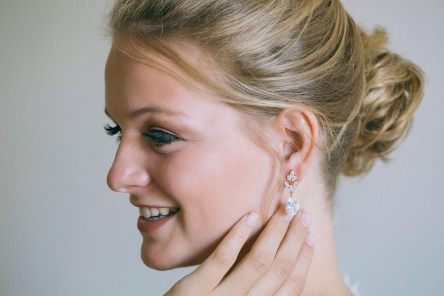 Wedding - Cubic Zirconia Earrings, Bridal Earrings, Wedding Earrings, Drop Wedding Earrings, Rhinestone Earrings, Rose gold Earrings
