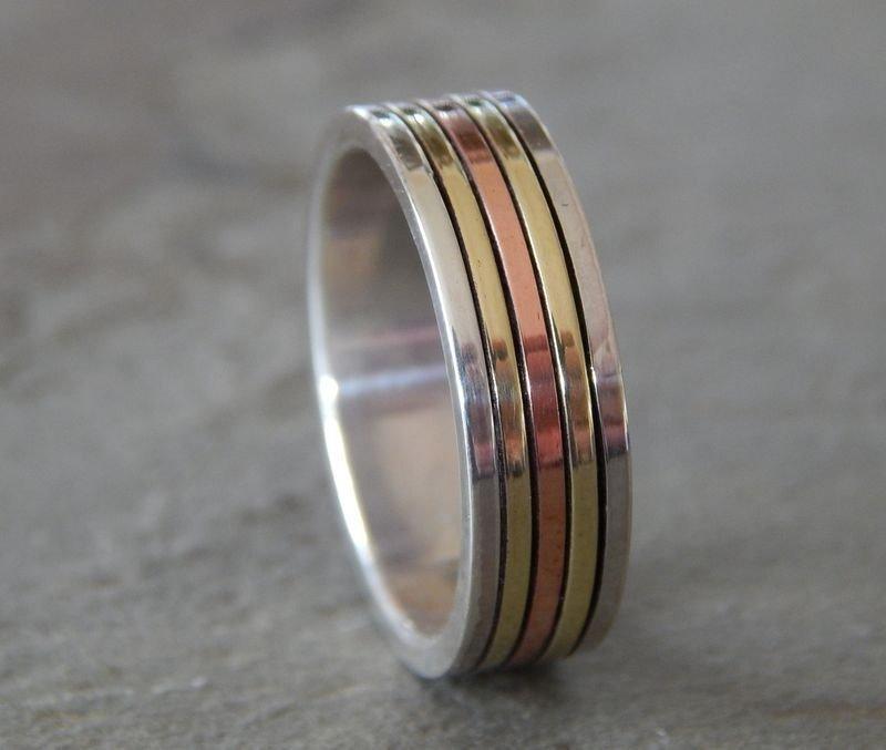 Wedding - AURORA BOREALIS Silver, Copper & Brass // Men's Wedding Ring // Women's Wedding Ring // Men's Wedding Band // Women's Wedding Band // Unique