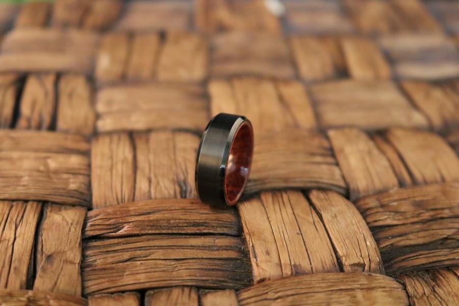 Wedding - Tungsten Wooden Ring - Mens Wedding Band - Black Mens Ring - Man Ring - Wood Ring - Black Tungsten Wedding Band - Beveled Edge - Brushed