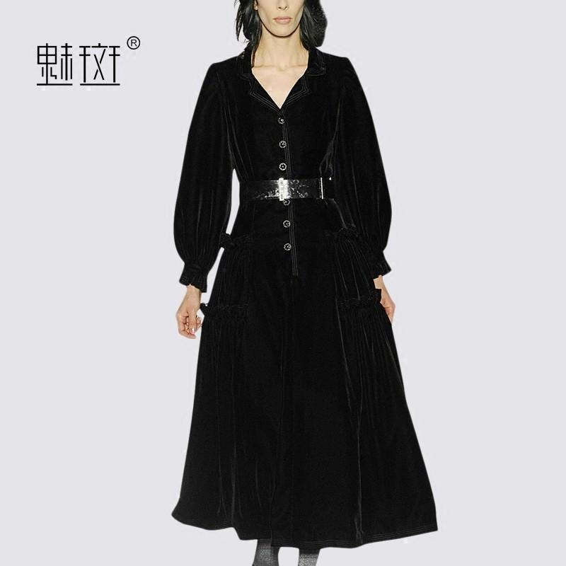 Wedding - Slimming Bishop Sleeves 9/10 Sleeves Black Mini Dress Suit Tie Dress - Bonny YZOZO Boutique Store