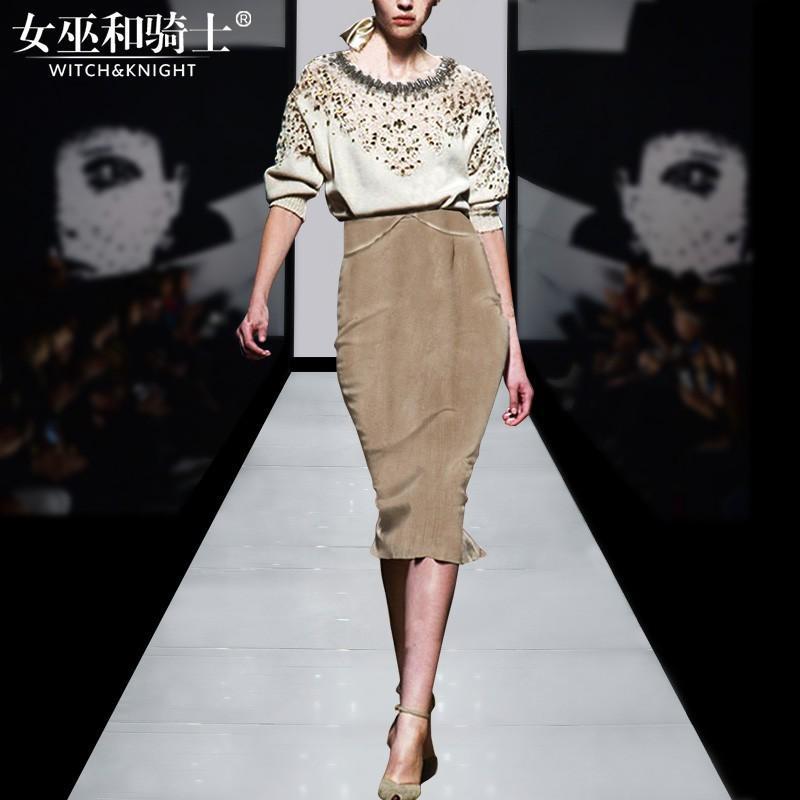 Свадьба - Vogue Beading Hollow Out Sheath Seude Spring Twinset Skirt Top - Bonny YZOZO Boutique Store