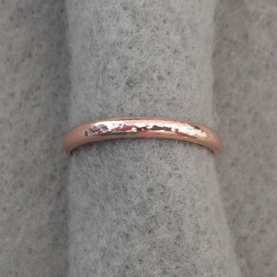 Wedding - 14K rose gold filled hand forged wedding band, 2.6mm band, 2.1mm simple hammer textured organic pink gold stacking ring, Alabama goldsmith