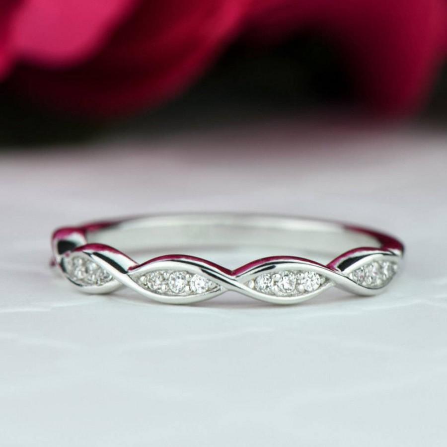 Wedding - Swirl Art Deco Wedding Band, 2.5mm Stacking Band, Layering Band, Engagement Ring, Man Made Diamond Simulants, Bridal Ring, Sterling Silver