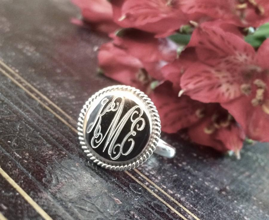 Mariage - Sterling Silver Monogrammed Ring Round with Rope Edge 18MM
