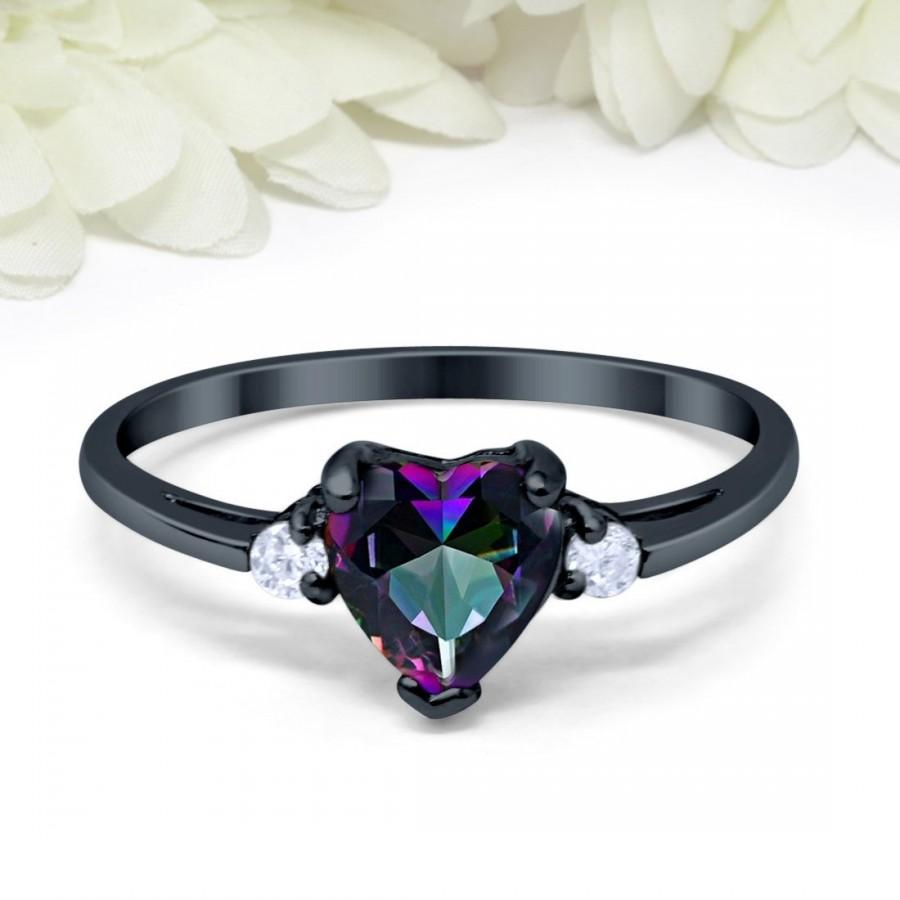 Mariage - Heart Mystic Rainbow Fire CZ Promise Ring Black Gold Plated Sterling Silver Round Simulated Diamond