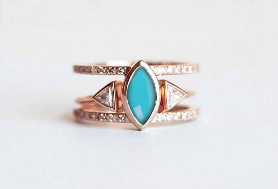 Wedding - Turquoise Diamond Ring, Turquoise Engagement Ring, Turquoise Wedding Set, Bohemian Ring Set, Gold Turquoise Ring, Diamond Wedding Set