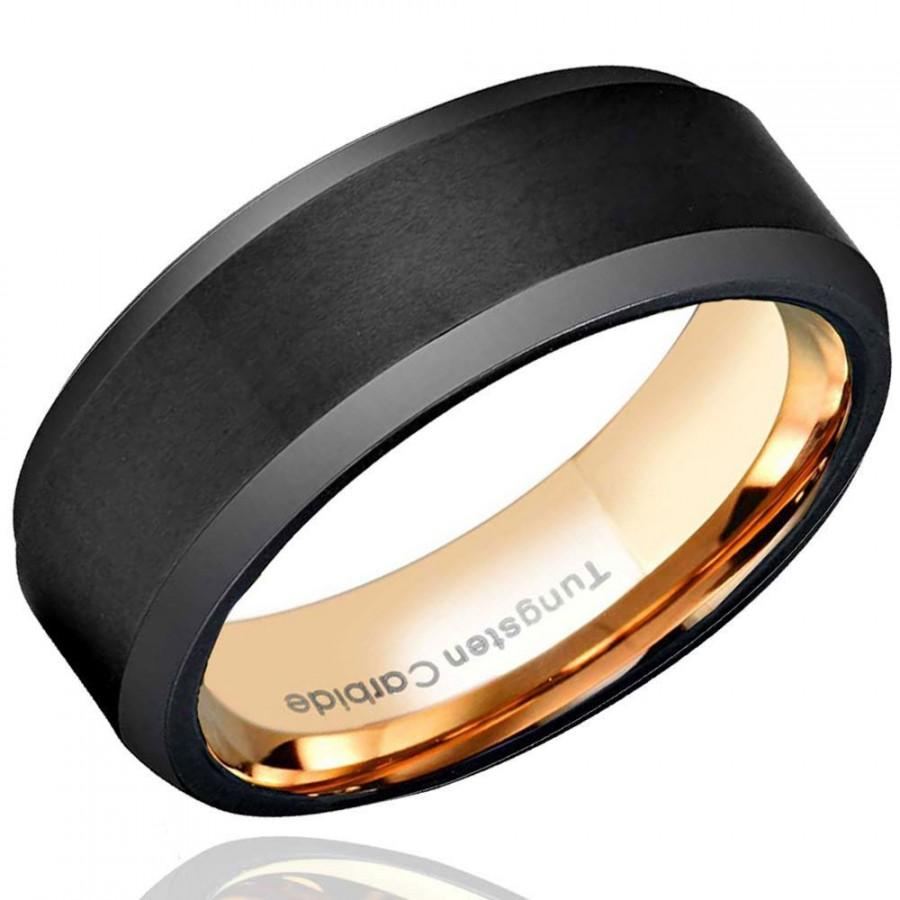 Hochzeit - 8mm Brushed Black Tungsten Wedding Band, Beveled Edges Tungsten Ring Rose Gold, Mens Engagement Ring, Personalized Ring, Free Engraved