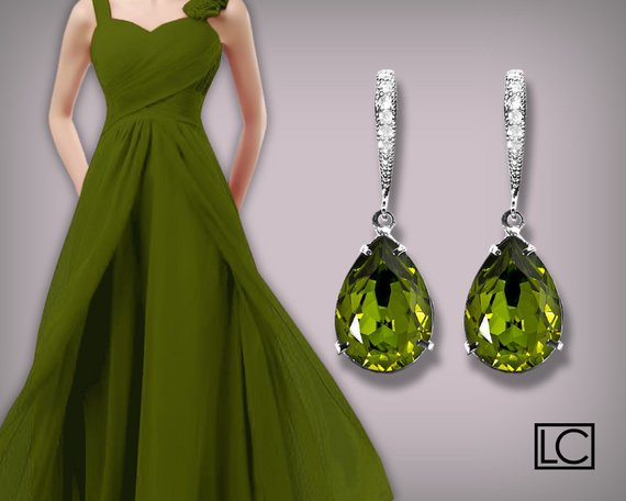 Свадьба - Bridesmaids Olivine Green Earrings Swarovski Olivine Crystal Earrings Silver CZ Olivine Green Wedding Earrings Bridesmaids Gift Earring