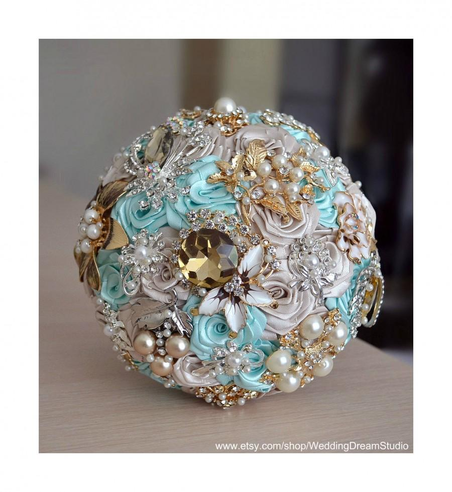 زفاف - Brooch Bouquet Wedding Bouquet Blue Mint Bouquet Bridal Bouquet Gold Silver Bouquet Wedding Jewelry Wedding Decor Wedding Accessories Broach