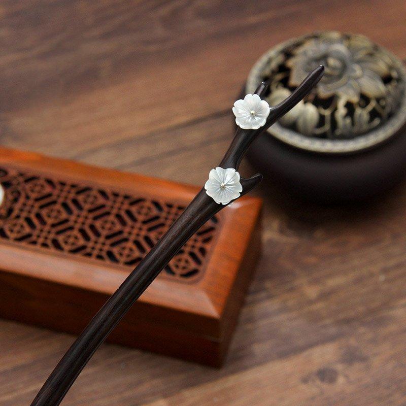 Wedding - Hair pin,Chinese antiquity,Chinese classical,Shell Flower ,Black ebony Hair pin,hair accessory,Hair Stick,Hair Accessories,Bun Holder