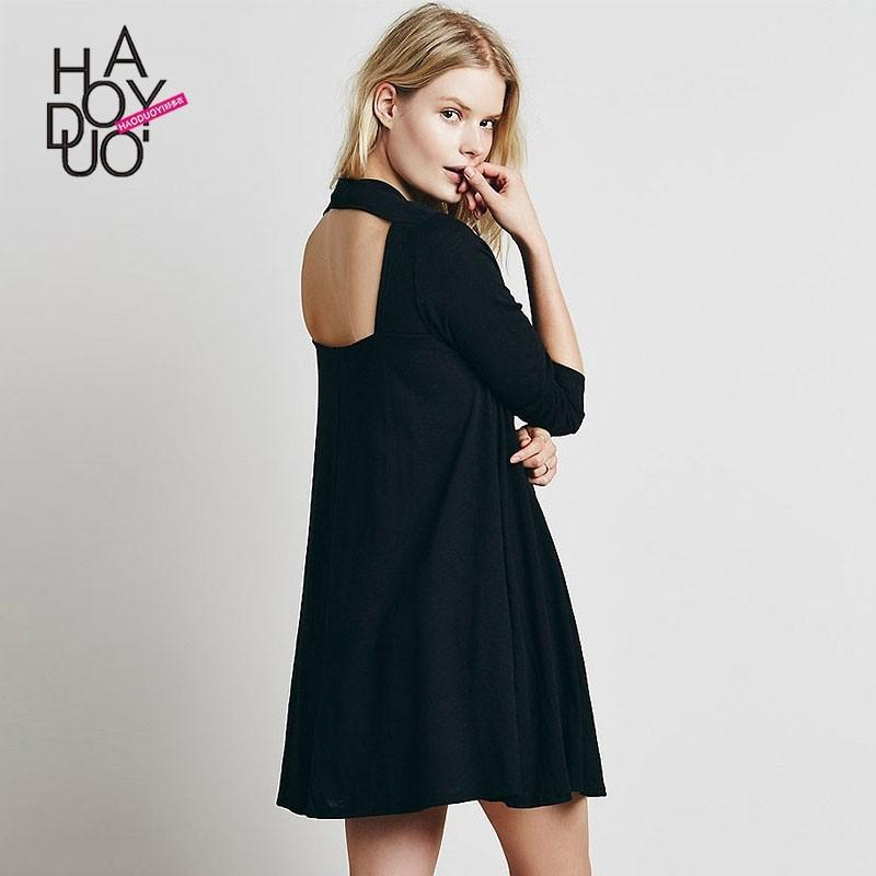 8c088936a429 Oversized Vogue Sexy Open Back One Color Fall 9 10 Sleeves Dress - Bonny  YZOZO Boutique Store