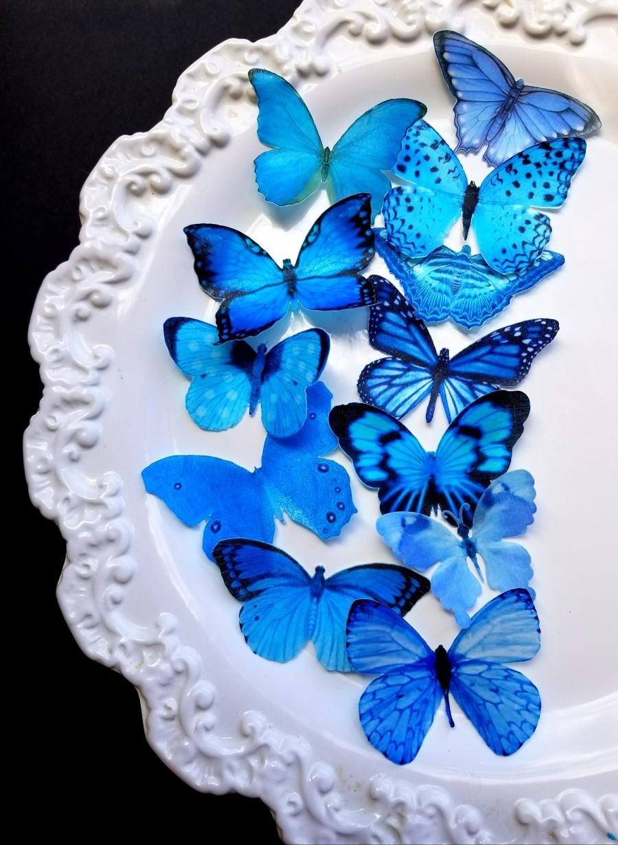 Mariage - 12 Edible Vibrant Blue Butterflies,Edible Cake  andCupcake Toppers, By Sugarbutterflies