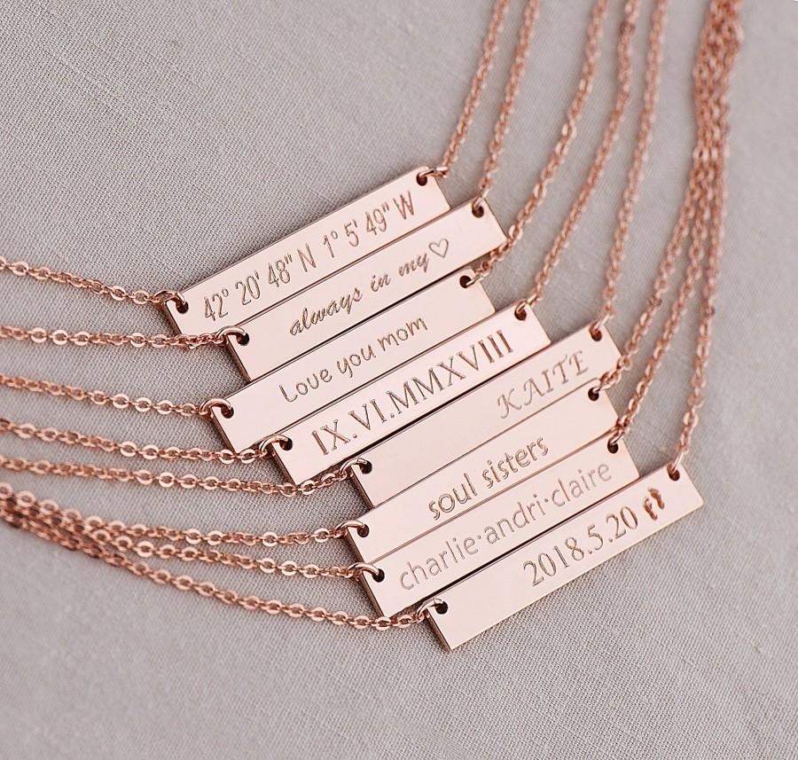 Hochzeit - Bar Necklace, custom necklace, gold bar necklace, rose gold necklace, custom bar necklace, wedding date necklace, bridesmaid gift,