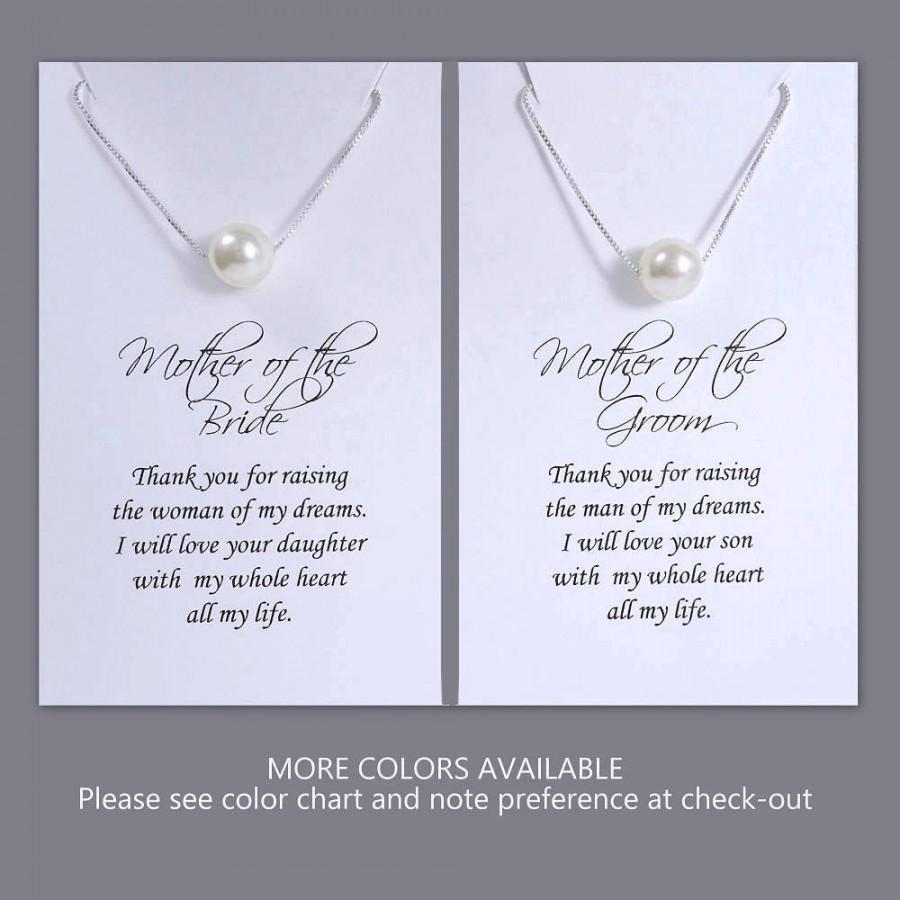 Hochzeit - Mother of the Bride Gift Necklace, Mother of the Groom Gift Necklace, Floating Pearl Necklace, Swarovski Ivory Pearl Necklace, Gift for Mom