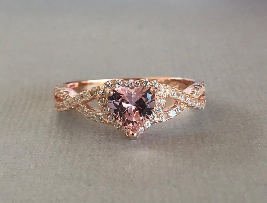 Wedding - Heart Pink Morganite Rose Gold Simulated Diamond Sterling Silver Engagement Promise Infinity Band Ring, Simulated Morganite Ring