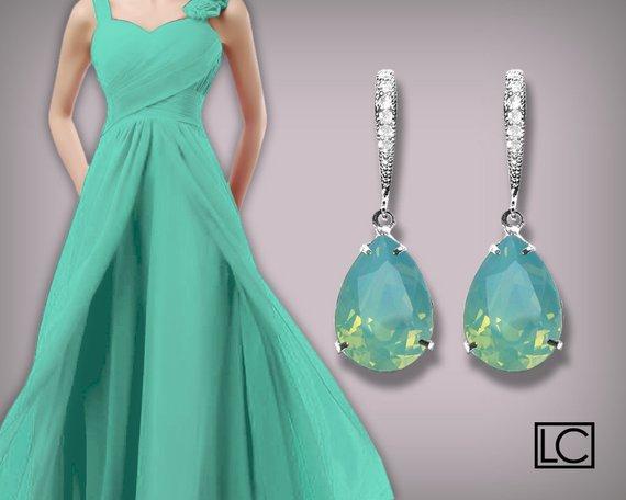 Hochzeit - Pacific Opal Crystal Earrings Aqua Mint Rhinestone Earrings Sterling Silver CZ Mint Opal Swarovski Opal Bridesmaid Earrings Wedding Jewelry