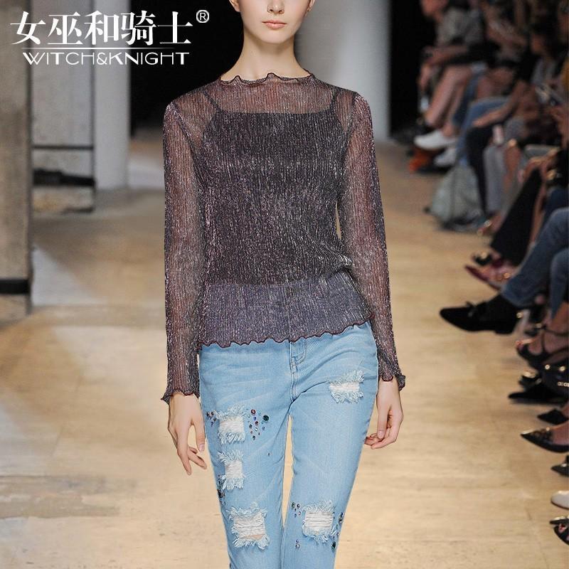 Wedding - Vogue Attractive Slimming Column Scoop Neck Shine 9/10 Sleeves Essential Top - Bonny YZOZO Boutique Store